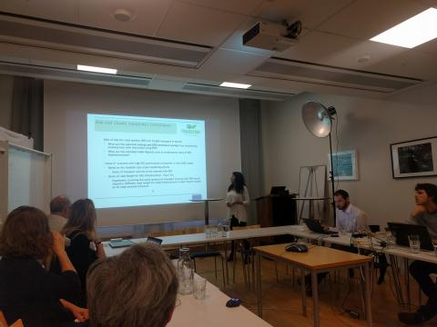 Georgia Savvidou from SEI presenting the TRANSrisk case study in Sweden. What are the potential energy and GHG emissions savings from substituting existing fuels with electricity using Electric Road Systems? What are the economy wide impacts such as employment rates of ERS implementation?