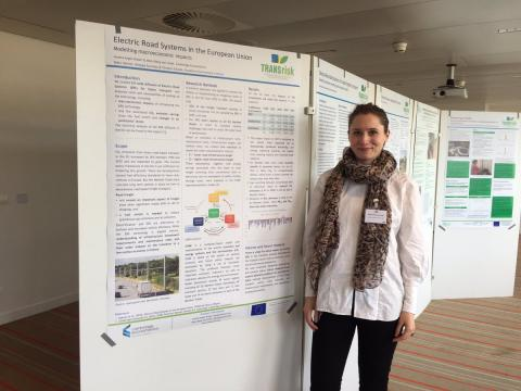 Malin Berg von Linde from CE presenting findings from the application of E3ME on the EU-wide diffusion of electric road systems for heavy transport
