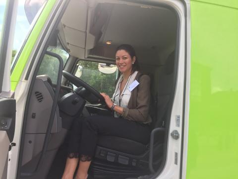 Georgia Savvidou at the cabin of the prototype truck